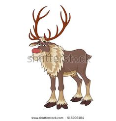 Christmas red nose reindeer Rudolph with inscrutable smile vector illustration on white background