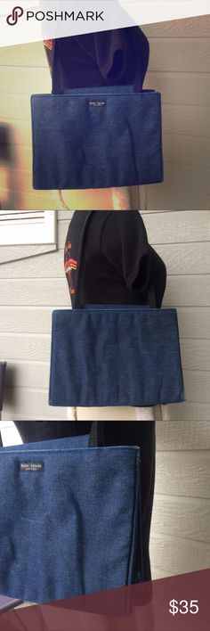 """Kate spade dark wash denim structured purse bag Kate spade dark wash denim structured purse. Sides are hard and structured. Somewhere around edges. Been folded up in closet for many years. 8"""" x 10.5"""" x 4.5"""". Strap drop 9"""" kate spade Bags Shoulder Bags"""