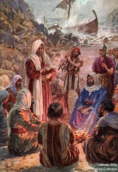 Acts 28 Bible Pictures: Paul shaking snake into fire