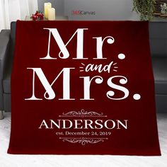 """This """"Mr and Mrs"""" personalized blanket is a great anniversary gift for your partner.You can add your name and wedding date to give a more personal touch to it.#anniversarygift #mrandmrs #personalized #blanket"""