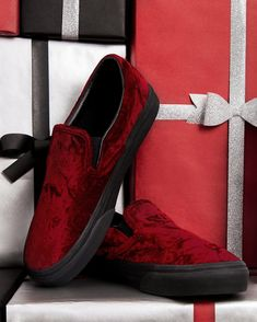 Sugar, spice, and everything velvet is nice! Shop the Oxblood Velvet Slip-On and more at vans.com/giftguide