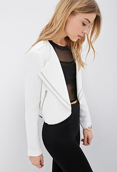 White Moto Biker Faux Leather Zippered Tiered-Lapel Jacket | FOREVER21 - 2000134783 $40