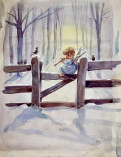 Erica Von Kager Watercolor Painting The Littlest Angel 2 Christmas Scenes, Christmas Angels, Christmas Art, Tree Illustration, Christmas Illustration, Vintage Christmas Images, Christmas Pictures, Angel Pictures, Christmas Paintings