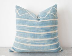Light African Indigo Pillow 20x20 by ThreadTooth on Etsy