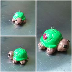 Little green turtle polymer clay charm with heart on the side. It's my first piece of work with polymer clay :)