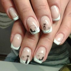 #ногти #нейл-арт #маникюр Cat Nail Art, Cat Nails, Gorgeous Nails, Pretty Nails, Manicure, Magic Nails, Stylish Nails, Nail Art Hacks, Holiday Nails