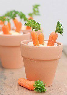 hummus and baby carrots! what a great idea for a healthy Easter snack! Easter Snacks, Easter Appetizers, Easter Party, Easter Treats, Easter Recipes, Holiday Recipes, Easter Food, Easter Bunny, Party Recipes