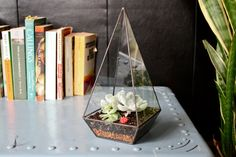 Items similar to Obelisk Terrarium // handmade with recycled glass // geometric planter for cacti - succulents - crystals on Etsy Decoration Chic, Do It Yourself Inspiration, Cute Office, Small Office, Office Desk, Glass Terrarium, Succulent Terrarium, Glass Garden, Recycled Glass