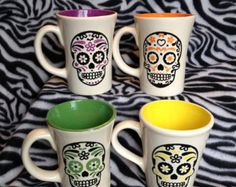 Large 20 ounce tattoo sugar skull DOD day of the dead coffee cup mug ceramic pottery OHIO USA hand made handmade