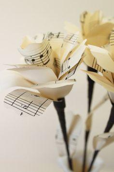Sheet Music Paper Flowers