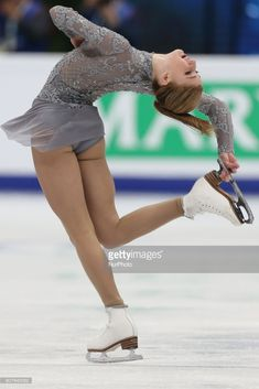 Figure skater Maria Sotskova of Russia performs during the ladies' free skating event at the 2018 ISU European Figure Skating Championships, at Megasport Arena in Moscow, Russia, on January (Photo by Igor Russak/NurPhoto via Getty Images) Hot Figure Skaters, Figure Skating Olympics, Foto Sport, Pinup Photoshoot, Dance Photography Poses, Medvedeva, Artists And Models, Dance Tights, Figure Skating Dresses