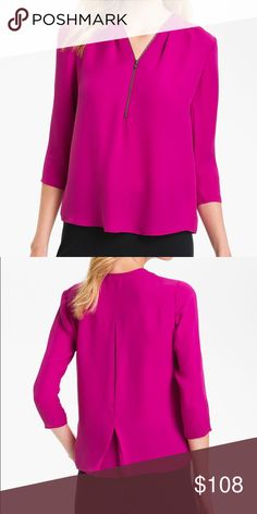 Theory Sala Blouse in Pink. Size P Theory Sala Blouse in pink. Size P (XS). 100% silk! 3/4 sleeves. Doubled silk georgette adds fluidity to a boxy blouse with an exposed zipper enveloping the gathered v-neck. A seamed back yoke releases a partially tacked inverted pleat for extra movement. Unlined and gently worn. Theory Tops Blouses
