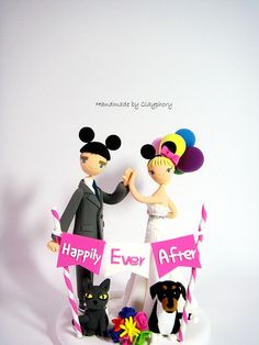 High five disneyland themed wedding cake topper by Clayphory, $180.00