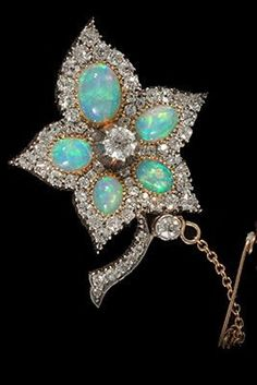 Edwardian fine quality opal and diamond leaf brooch v wearable platinum set 1910c