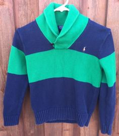 Polo-by-Ralph-Lauren-Boys-Small-Green-Navy-Stripe-Pony-Sweater-Pullover-J175