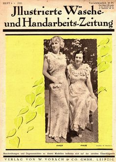 "Illustrierte Wäsche- und Handarbeits-Zeitung 1935 heft 4.  Model 14497: B40"" (102 cm). Model 14498: B34"" (88 cm). PDF sewing patterns for these models available upon request, please contact me for more information."