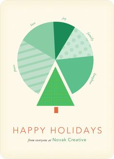 Tree Pie Chart for Business Holiday Cards - Green                                                                                                                                                                                 More