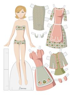 A retro inspired mother's day paper doll! * 1500 free paper dolls at Arielle Gabriels The International Paper Doll Society also free Asian paper dolls at The China Adventures of Arielle Gabriel *