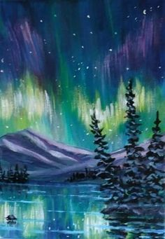 "Daily Paintworks - ""Yukon Northern Lights"" - Original Fine Art for Sale - © Jackie Irvine"