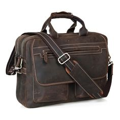 """Image of Crazy Horse Leather Multi-functional Men's Briefcase Messenger 16"""" Laptop Macbook Bag Birthday Gift"""