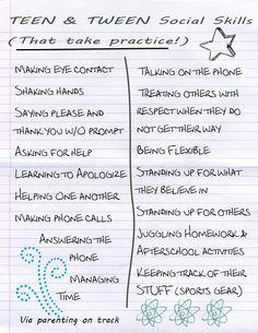 Social Skills Teens and Tweens should be encouraged to practice #tweens #teens…