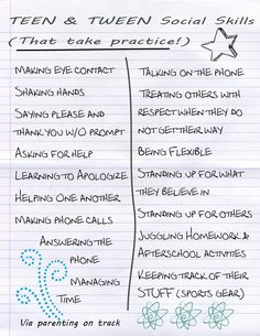 Social Skills Teens and Tweens should be encouraged to practice #tweens #teens #skills #parenting