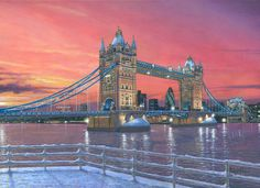 Realist, fine art, landscape painting of Tower Bridge on the River Thames, London, England. Built between 1886 and 1894 the bridge is a combined bascule (leaves) and suspension bridge. Tower Of London, London Art, Painting Snow, All Nature, River Thames, Famous Places, My Escape, Tower Bridge, Landscape Paintings