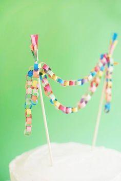 Mini Paper Chain Cake Topper DIY   Oh Happy Day!