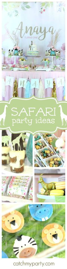 You don't want to miss this chic sweet safari 1st birthday! The dessert table and safari animals animal decorations are adorable! See more party ideas and share yours at CatchMyParty.com
