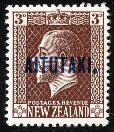 Aitutaki 1919 Scott 23 3p chocolate, blue overprint