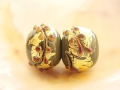 Golden Green Handmade Lampwork Pair by IrinaS on Etsy