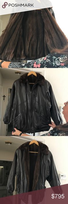 Vintage 1990 Reversible Leather/Mink Jacket Purchased at Nordstrom. Since it's reversible, there is no label or size but it's a size Large. 100% genuine lamb leather and 100% mink. Color = dark brown. Rich in color. One small flaw as photographed is tiny patch of fur missing on right arm. Hardly noticeable, but I want to disclose everything. Only worn approximately 5 times by my grandmother. Feel free to ask ANY questions, I reply quickly. Suggested user , so shop with confidence. Happy…