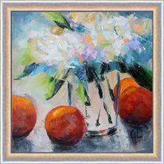 """Апельсиновое утро. Автор Олеся Лопатина. Холст 20*20 см, масло. 2017. Oilpainting """"Orange mood"""" by Olesya Lopatina. Canvas 20*20cm. 2017."""