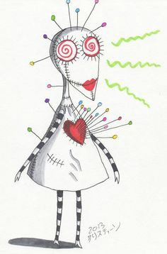 """""""Her skin is white cloth, and she's all sewn apart and she has many colored pins sticking out of her heart."""" - Tim Burton, from """"Oyster Boy"""" poems. Voodoo Doll Tattoo, Voodoo Dolls, Tim Burton Style, Tim Burton Art, Nightmare Before Christmas Wedding, Dark And Twisted, Indie Art, Goth Art, Art Inspo"""