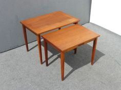 Pair Vintage Danish Mid Century Modern NESTING TABLES w Handles in Antiques, Furniture, Tables, Post-1950 | eBay