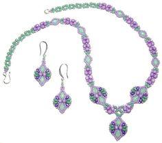 Reverie Necklace & Earrings beaded pattern tutorial by Deb Roberti