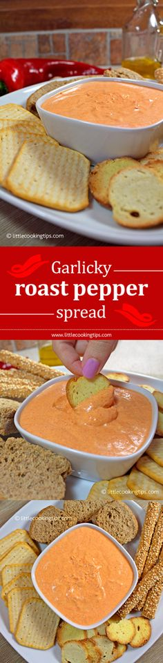 Super easy, creamy garlicky red pepper spread with Greek yogurt and cream cheese.