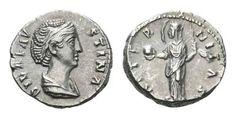 Diva Faustina I AR Denarius. Rome, after AD 141. DIVA FAVSTINA, draped bust right / AETERNITAS, Providentia standing left, veil blown out behind head, holding globe. RIC 351. 3.36g, 17mm, 6h. Near Good Very Fine.