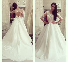 Elegant Sexy Wedding Dresses Taffeta Bridal Gowns Vestidos De Noiva New Arrival Long Sleeve Sheer Lace A-Line Bridal Gown