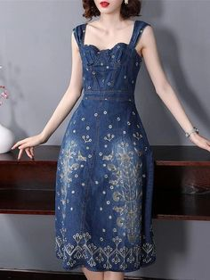 Fashion Denim Embroidery Braces Fit Flare Dress