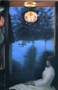 ☂ Paper Lanterns and Parasols ☂ Japonisme Art and Illustration - Oda Krohg Art Nouveau, Nocturne, Red Lantern, Chinese Lanterns, Paper Lanterns, Chinoiserie, Japanese Art, Beautiful Paintings, Love Art