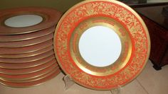 12 Antique Dinner Plates / Orange by StyleJunkieAntiques on Etsy