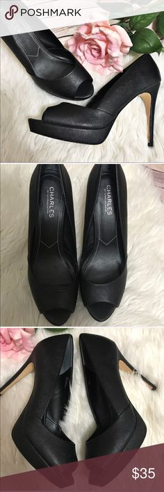 """Charles by Charles David FOX Platform Peep Heels These heels are hot!  Saffiano textured so it's really durable and chic. 4.5"""" heel with 1"""" platform. Peep Toe. Lightly worn, no flaws on upper!  Sole shows some discoloration Charles David Shoes Heels"""
