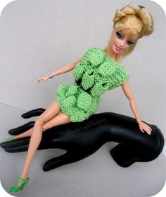 Miniature knit dress for Barbie and Fashion Royalty