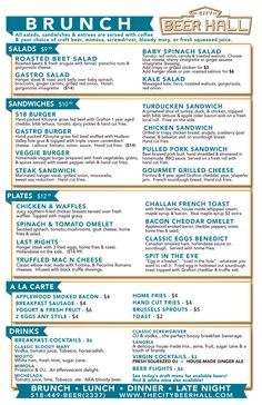 CityBeer_Brunch_Menu, Downtown Albany- will do private parties Brunch Menu, Sunday Brunch, Brunch Ideas, Restaurant Menu Design, Vintage Restaurant, Baby Spinach Salads, Roasted Beet Salad, Menu Layout, Class Projects
