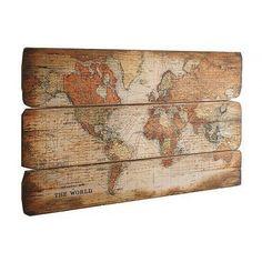 Artprint Wereldkaart op mdf-hout afgedrukt online kopen