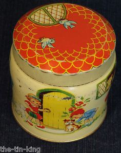 SUPER RARE THORNES TOFFEE FIGURAL COTTAGE TIN LUCY ATTWELL STYLE C1950 | eBay