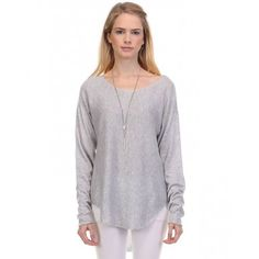 $52  LIGHT WEIGHT PULLOVER SWEATER - GREY - TOPS