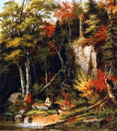 Hunting Scene on the St Maurice - Krieghoff, Cornelius (Canadian, 1815 - Fine Art Reproductions, Oil Painting Reproductions - Art for Sale at Bohemain Fine Art Great Paintings, Paintings For Sale, Oil Paintings, Oil Painting For Sale, Painting Classes, River Painting, Canadian Painters, Cornelius, Note