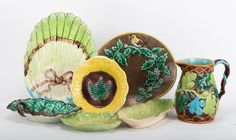 19th and 20th centuries; including majolica jug, probably George Jones, and three majolica leaves